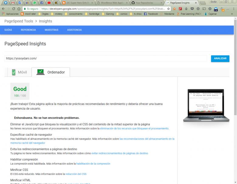 Se muestra la página google PageSpeed Insights con puntuación 100